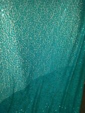 1 MTR  TURCOIS BLUE SEQUINS   LACE NET WITH SLIGHT  STREATCH  58INCHES  WIDE