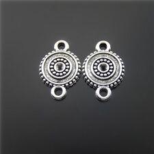 **20pcs Vintage Silver Round Look Handmade Pendant Connector Jewelry Decor 51552