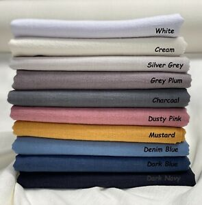 """Plain Stone Washed Linen Fabric Soft Material Home Decor Curtains Dress 55"""" Wide"""