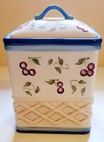 Inspirado Seattle Cookie Jar Ceramic Cherries Basketweave Hand Painted Free Ship