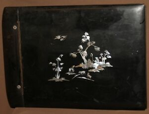 Vintage Asian inlay mother of pearl lacquer wood photo album cover