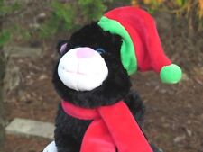 Wal-Mart Black Cat Kitty Kitten w/Christmas Hat Scarf Plush Stuffed Animal Doll