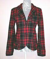 SUPERDRY Red Check Lined Jacket M Tailoring Scottish Tartan Wool Blend Blazer