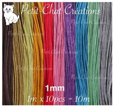 Lot Mix 10m de fil en coton ciré de 1mm pour colliers sautoirs bracelets *CU23