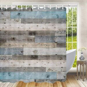 Nice Rustic Blue Gray Wood Plank Country Farmhouse Fabric Shower Curtain