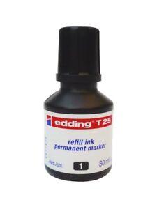 Edding T25 SCHWARZ 30ml Nachfüll-Tusche refill ink. Tinte für Permanent marker!