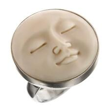 MOON FACE BUFFALO BONE 925 STERLING SILVER ring