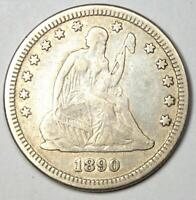 1890 Seated Liberty Quarter 25C - VF Details - Rare Date Coin!