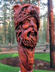 Wood Spirit Carving Carved Bear Mountain Man Muzzle Loader Folk Art Sculpture