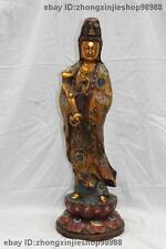 China Buddhism Pure Bronze Copper Cloisonne Ruyi Kwan-yin Bodhisattva Statue