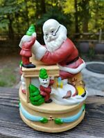 Vintage SANTA CLAUS Porcelain Wind Up Music Box Rotates Reading w/ Elves