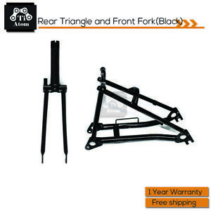 Ti Atom Black Color Titanium Rear Triangle and Front Fork fit for Brompton Bike