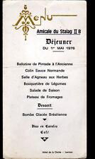 LEVROUX (36) HOTEL DE LA CLOCHE / MENU Amicale du STALAG II-B Camp de POLOGNE