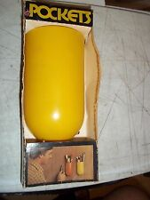 "NOS WALL POCKET LERNER MFG. 53/4"" TALL 31/4"" WIDE YELLOW SUPPLIES FLOWERS OFFICE"
