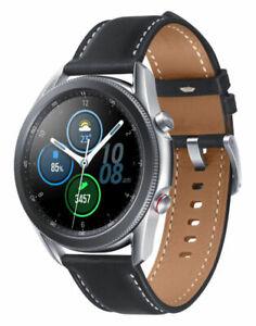 Samsung Galaxy Watch3 (Unlocked LTE) 45mm, Mystic Silver, Black Stitched Leather