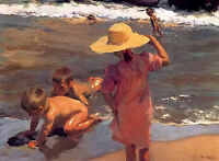 Oil painting the young amphibians children by beach Joaquin Sorolla y Bastida