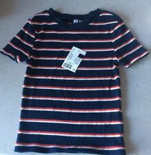 H&M WOMEN'S/GIRL'S NAVY/RED/WHITE STRIPE TOP - SIZE XS - BRAND NEW WITH TAGS