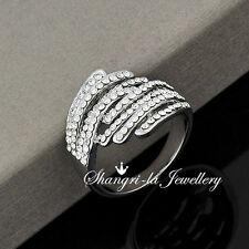 6092 Sz7 18K WHITE GOLD PLATE SILVER JOURNEY RING GEN SWAROVSKI CRYSTAL WEDDING
