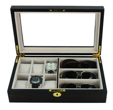 6 WATCH 3 EYEGLASS EBONY WOOD WALNUT STORAGE DISPLAY GLASSES CASE ORGANIZER BOX