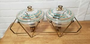 VINTAGE PYREX COVERED DISHES WITH WARMING METAL CRADLE/STAND/WARMING TRAY