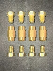 """3/16"""" line (10mm x 1.0 inverted flare) Brake Line Fittings & brass Unions,12 pcs"""