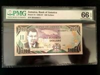 Jamaica $100 1986 World Paper Money UNC Currency - PMG Certified