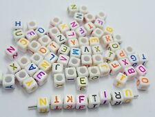 250 Assorted Color in white Alphabet Letter Acrylic Cube Pony Beads 6X6mm