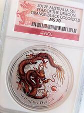 2012 P Australia S $1 Lunar Year of the Dragon Orange Black Colorized NGC MS70