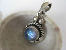 Rainbow Moonstone Silver Pendant ~ Small stone, blue fire