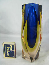 "Beautiful ""Sommerso"" Murano glass vase / Schöne Murano Glas Block Vase 820 Gr."