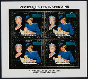 Central Africa Gold Foil m/s MNH Queen Mother 85th Birthday