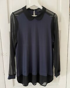 Next Navy With Black Mesh Blouse 18