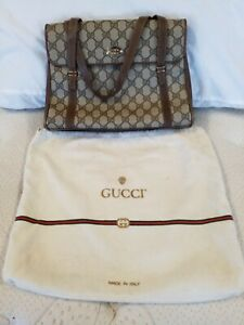 GUCCI CANVAS & LEATHER PURSE HANDBAG WITH DUST COVER BAG
