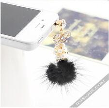 Handy Schmuck Strass Perlen Gold Staubschutz 3,5mm Headset Stöpsel Iphone Galaxy