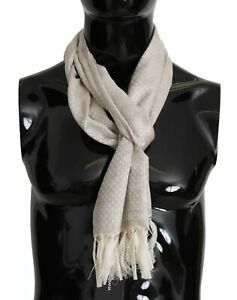 DOLCE & GABBANA Scarf Khaki Silk Wool Fringes Mens Wrap 36cm x 170cm RRP $460