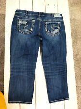 Silver Suki Jeans Dark Washed Distressed Mid Capri Size 20 Plus Size EXCELLENT