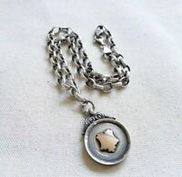 1920's English Sterling Silver, Brass Medal on Solid Sterling Silver Chain