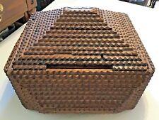 🔥 Antique Handmade Wooden Tramp Art Box Chip Carved 12 x 11 x 8 Estate Fresh 🔥