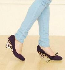 Ladies Fashion Shoes Slip On Wedge Heel Faux Suede Round Toe Low Top Casual Size