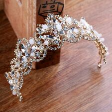 GOLD CROWN/TIARA WITH CLEAR CRYSTALS AND WHITE BEADS, WEDDING, BRIDAL, RACING