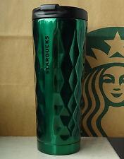 Starbucks Tumbler Thermobecher Edelstahl grün mit Rautenmuster 12oz NEU