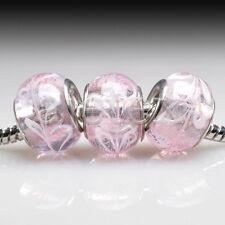 5pcs Murano Glass Round Beads Lampwork For European Bracelet Chain LB0100