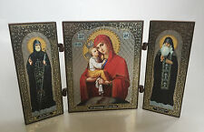 Wood Orthodox Travel Icon - Virgin Mary with Child