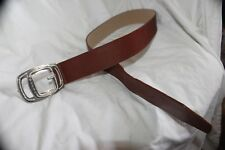 "VINTAGE 1980'S GUESS WOMEN'S BROWN LEATHER BELT ""G"" BUCKLE SIZE LARGE 31-35"