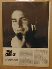 Vintage 1980's TOM CRUISE Movie Star 1986 Print Article Clipping