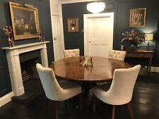 More details for antique large round solid mahogany tilt top pedestal table/diningtable
