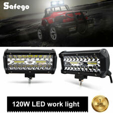 2x 7inch 120w LED work light bar spot Tri-row car Driving lights Off Road truck