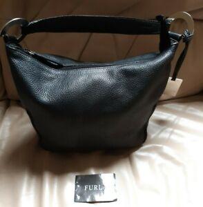 Gorgeous Top Designer Furla Genuine Black Leather Shoulder Bag RRP £300