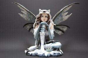 große Wolfselfe Fantasy Figur 31 cm hoch Winterelfe mit Woflspelz  Fee Elfe Wolf