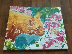 """💥Cat Red Garden 3d Paint By Number Flowers Handmade Art Picture 19.6"""" x 15.7"""""""